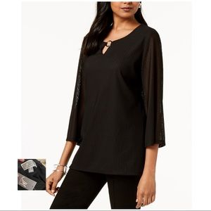 JM COLLECTION NWT Black Mesh Textured Keyhole Top